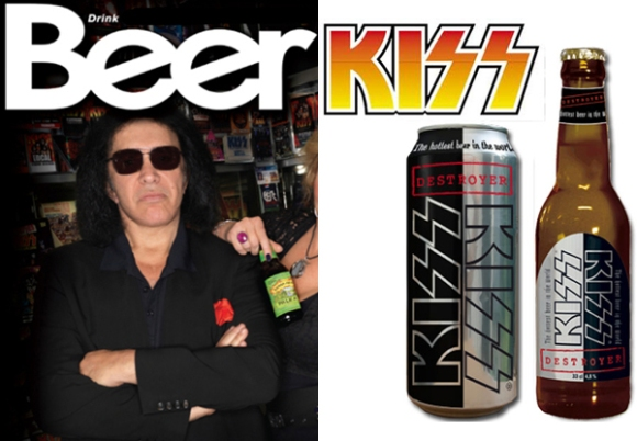 Gene Simmons with KISS Destroyer lager beer