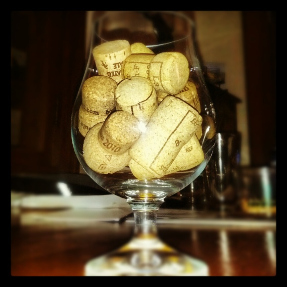 Craft beer goblet with corks