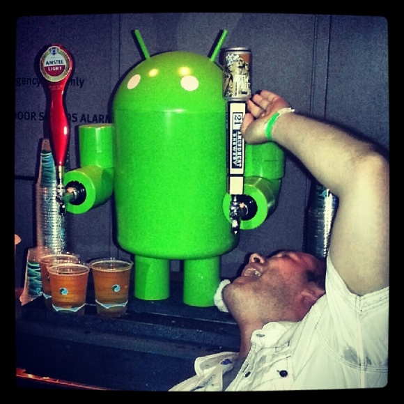 Android Robot Beer Tap at Google I/O 2012 party with drunken developer fool
