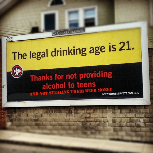 MA legal drinking age billboard