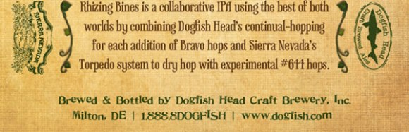 Dogfish Head Sierra Nevada Rhizing Bines imperial IPA label