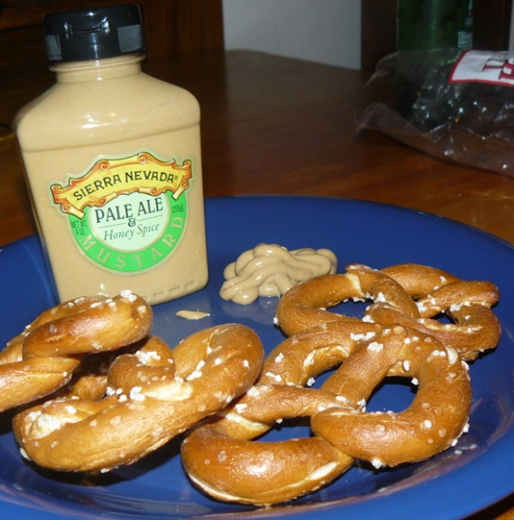 Sierra Nevada Pale Ale & Honey Spice mustard with pretzels