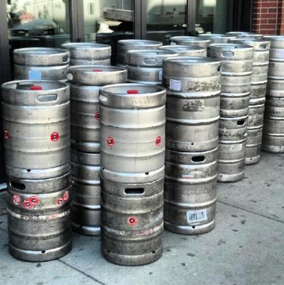 Beer Kegs on city sidewalk