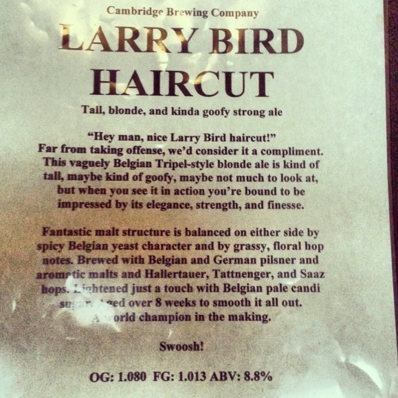Cambridge Brewing Co. Larry Bird Haircut