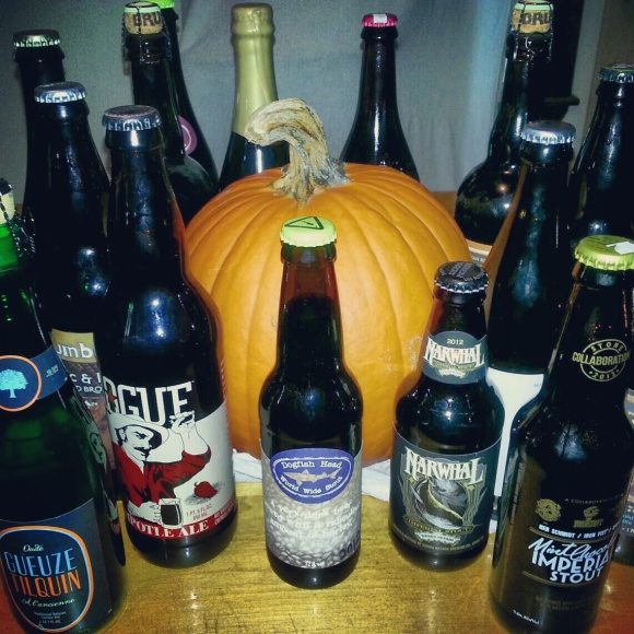 craft beer bottles and a pumpkin