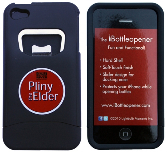 Russian River Pliny the Elder iPhone case and bottle opener