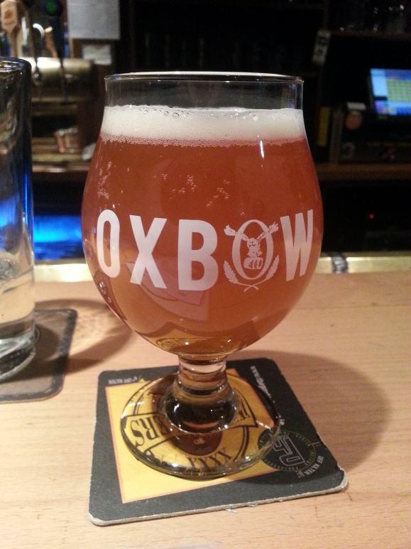 Oxbow Brewing Co. goblet glass