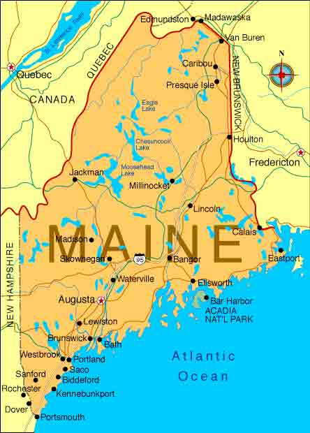 State of Maine Map