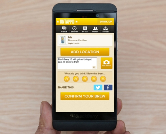 Untappd Beer app on BlackBerry 10