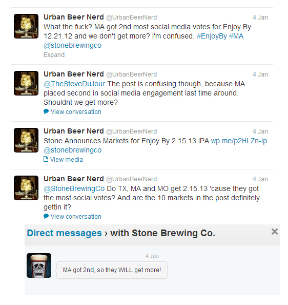Stone Brewing Enjoy By IPA Twitter Conversation