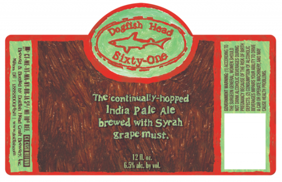 Dogfish Head Sixty-One IPA label art