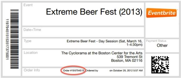Beer Advocate Extreme Beer Fest Ticket