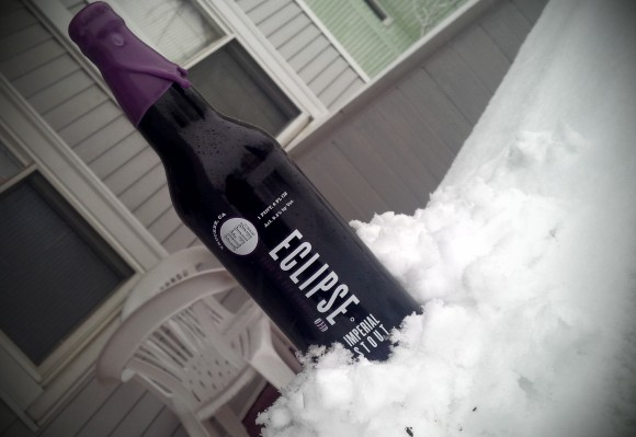 Fifty Fifty Brewing Eclipse Elijah Craig Imperial Stout in the snow