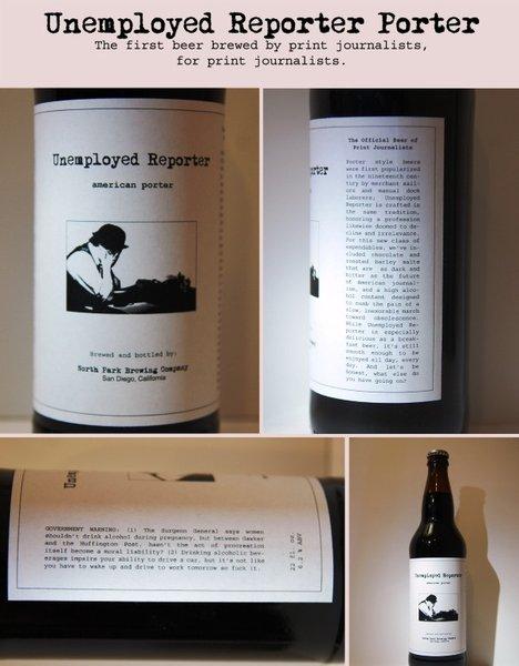 Unemployed Reporter Porter bottle label