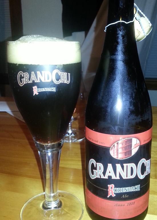 Rodenbach Grand Cru bottle and glassware
