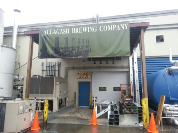 The entrance to Allagash' brewery on a rainy day in Portland, ME