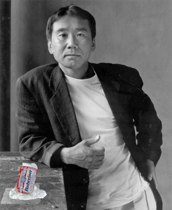 Novelsit Haruki Murakami with a frozen Budweiser can