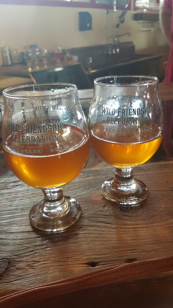 Commemorative Wild Friendship Blend glasses filled with four-year-old, unblended single barrel Cantillon lambic