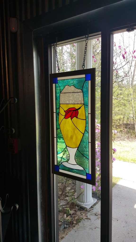 Stained glass in Allagash's wild barrel room